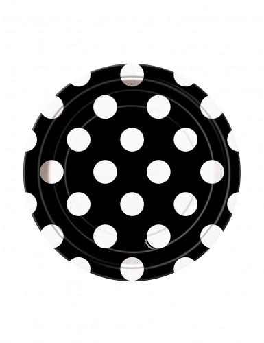 8 Petites assiettes noires à pois blancs en carton 17 cm