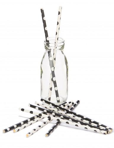 10 Pailles blanches et noires à pois 21 cm-1