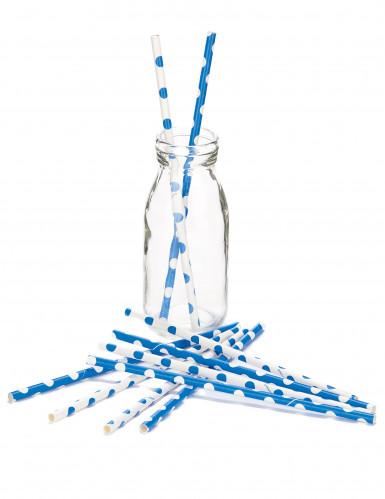 10 Pailles blanches et bleues à pois-1