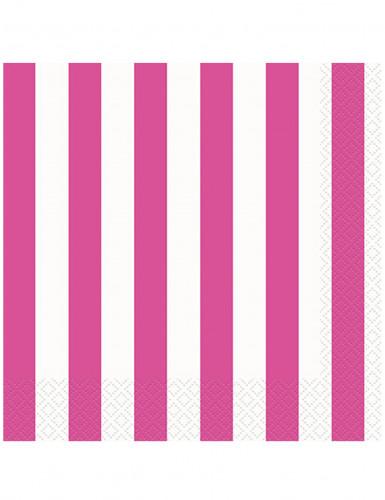 16 Serviettes en papier Rayées rose et blanc 33 x 33 cm
