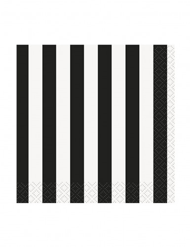 16 Petites Serviettes en papier Rayées noires et blanches 25 x 25 cm