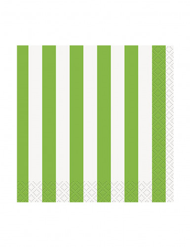 16 Petites Serviettes en papier Rayées vertes et blanches 25 x 25 cm