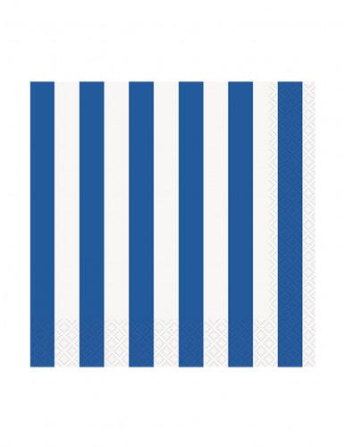16 Petites Serviettes en papier Rayées bleues et blanches 25 x 25 cm