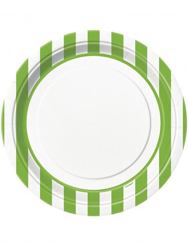 8 Assiettes blanches à rayures vertes en carton 22 cm