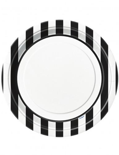 8 Assiettes blanches à rayures noires en carton 22 cm