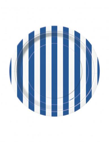 8 Petites assiettes à rayures bleues et blanches en carton 17 cm