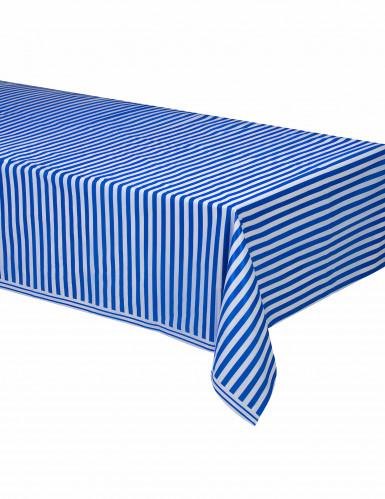 Nappe plastique rayée bleue et blanche 140 x 237 cm