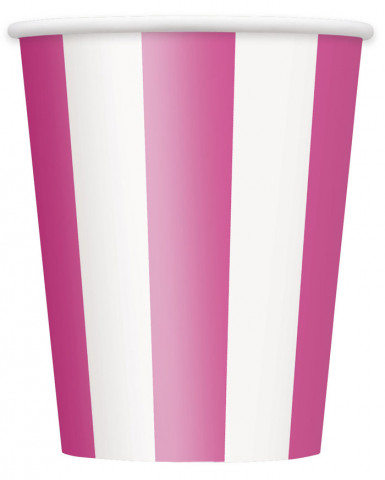 6 Gobelets carton rayés rose et blanc