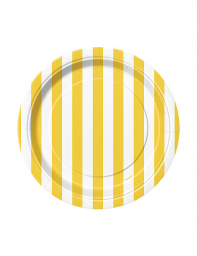 8 Petites assiettes à rayures jaunes et blanches en carton 17 cm