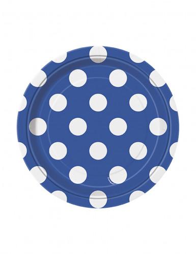 8 Petites assiettes bleues à pois blancs en carton 17 cm