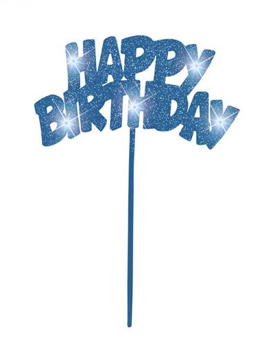 Décoration lumineuse bleue pour gâteaux Happy Birthday