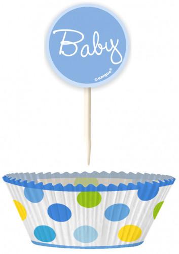 24 Moules à cupcakes et pics de décoration baby garçon