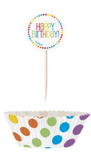 24 Moules à cupcakes et pics Anniversaire Coloré