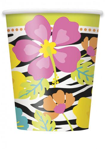 8 Gobelets carton Hibiscus Zébré