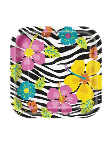 10 Petites assiettes en carton Hibiscus Zébré 18 cm