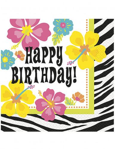 20 Serviettes en papier Happy Birthday Hibiscus/Zébré 33 x 33 cm