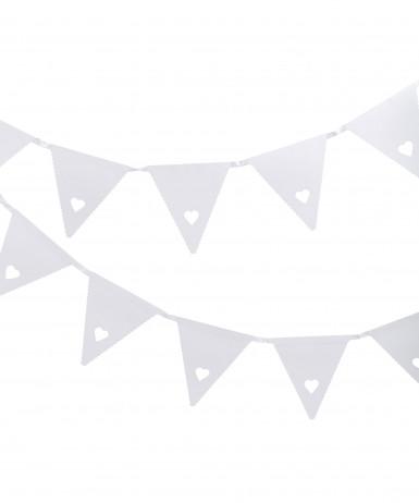Guirlande blanche petit coeur en carton 3 m