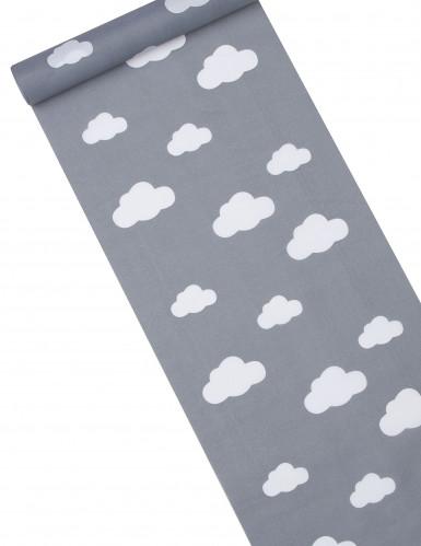 Chemin table tissu gris imprimé nuages 28 cm x 5 m