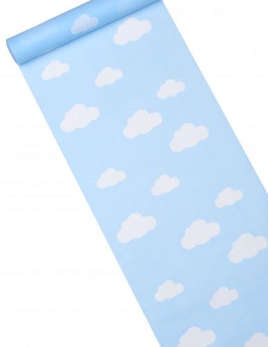 Chemin de table tissu bleu ciel imprimé nuage