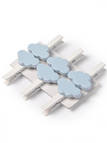 6 Pinces blanches nuages bleus