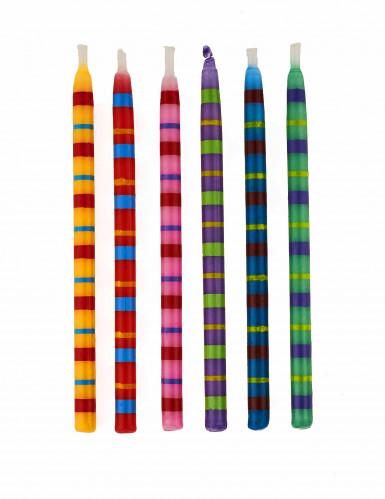 12 Bougies anniversaire rayées multicolores 9 cm