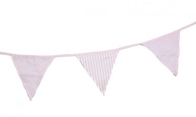 Guirlande fanions en tissu pois et rayures rose et blanc