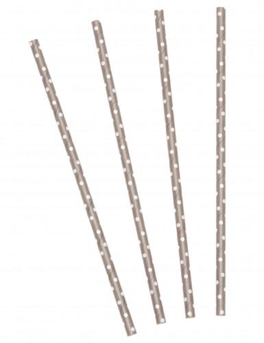 24 Pailles taupes pois blancs