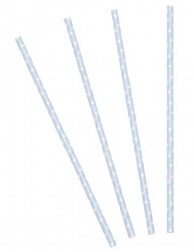 24 Pailles bleu ciel à pois blancs