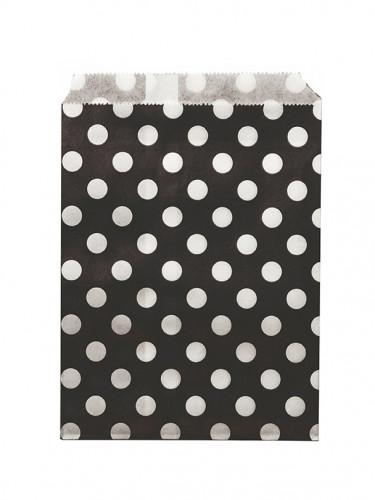 24 Sachets papier noir pois blancs