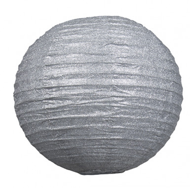 Lanterne pailletée argent 30 cm