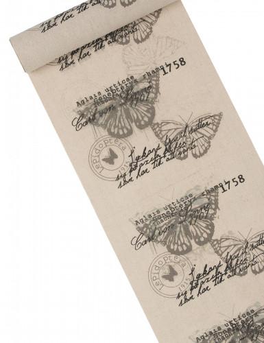 Chemin de table lin imprimé papillons chics