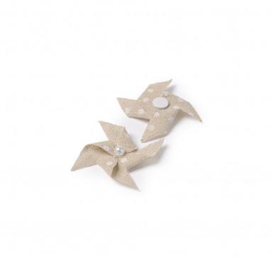 4 Mini moulins lin à pois adhésifs