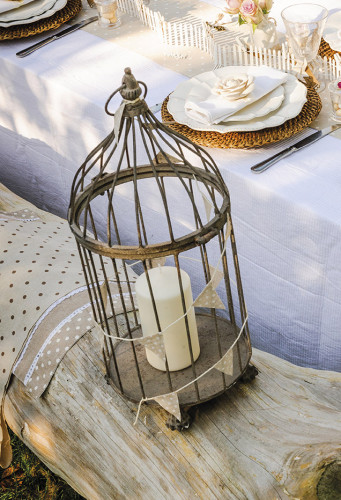 Mini guirlande lin rayé blanc-1