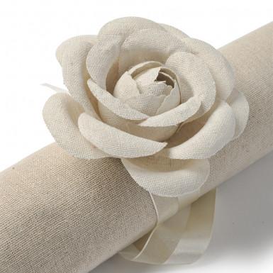 2 Roses de lin + ruban