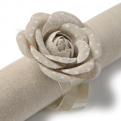 2 Roses en lin à pois blancs avec ruban-2