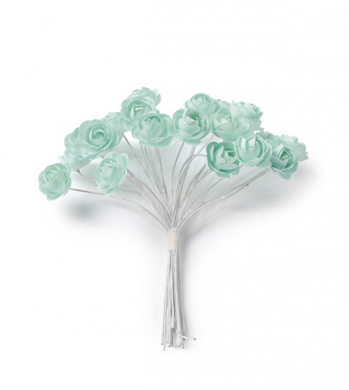 24 Mini roses menthe sur tige