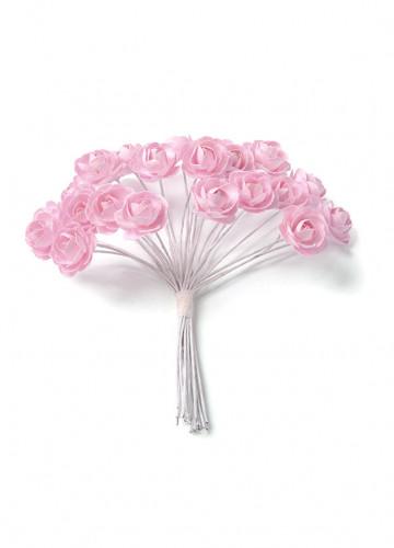 24 Mini roses roses sur tige