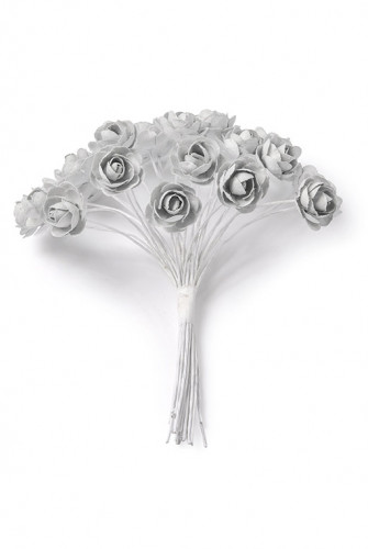 24 Mini roses gris clair sur tige