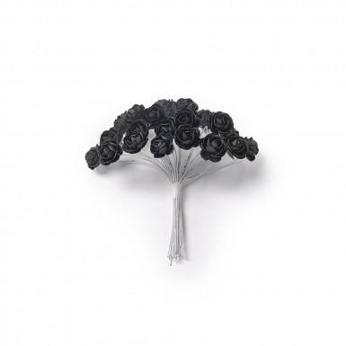 24 Mini roses noires sur tige