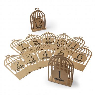 12 Marques-table kraft cage à oiseaux
