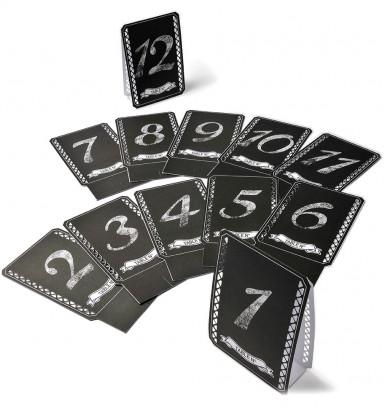 12 Marques table noirs imprimés blanc