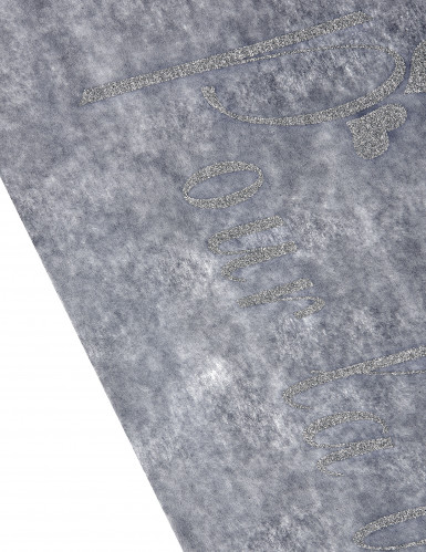 Chemin de table intissé gris pailleté imprimé -1