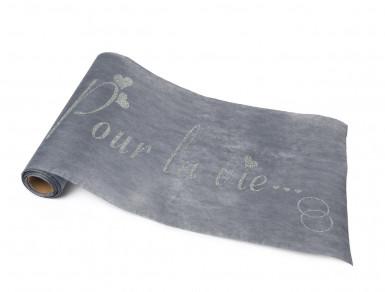 Chemin de table intissé gris pailleté imprimé -2