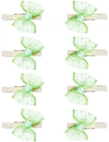 8 Mini pinces noeuds anis à pois blancs