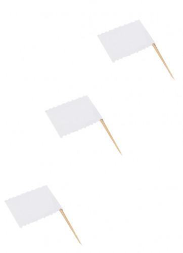 10 Etiquettes blanches sur pic façon drapeau
