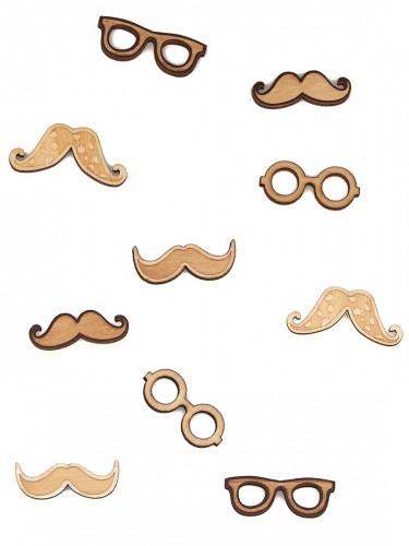 10 Confettis en bois moustaches & lunettes 3.5 cm
