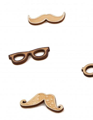 10 Confettis en bois moustaches & lunettes 3.5 cm-1