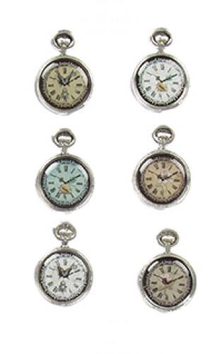 6 Mini pendules vieillies adhésives 3 cm