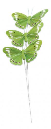 3 Papillons vert anis sur tige