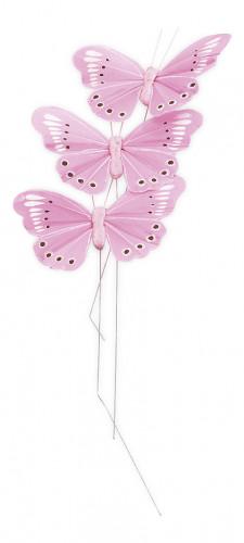 3 Papillons roses sur tige 7.5 cm